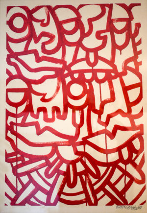 red alert – acrylic on unbleached paper 250gsm A2 oibel1