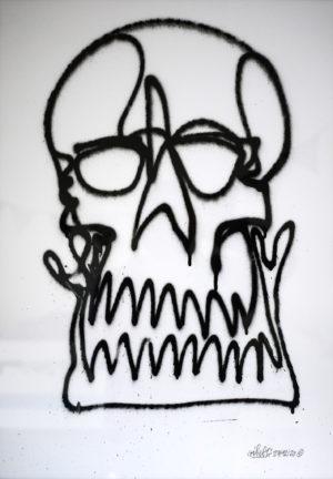 skull head – oneline spray paper 250gsm A2 oibel1